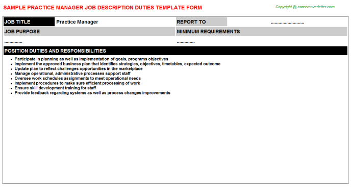 Practice Manager Job Description Template