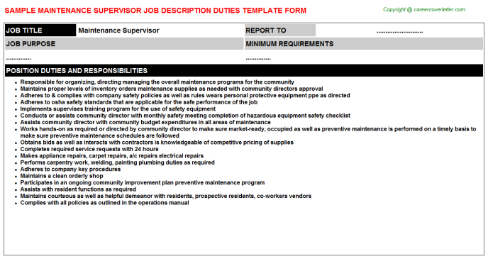 Maintenance Supervisor Job Description Template