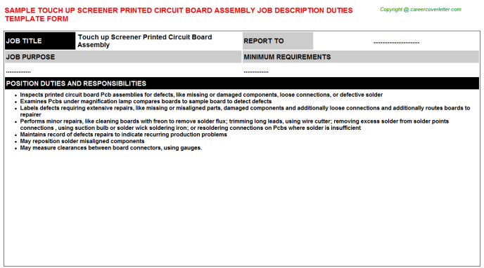 touch up screener printed circuit board assembly job