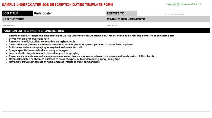 Undercoater Job Description Template