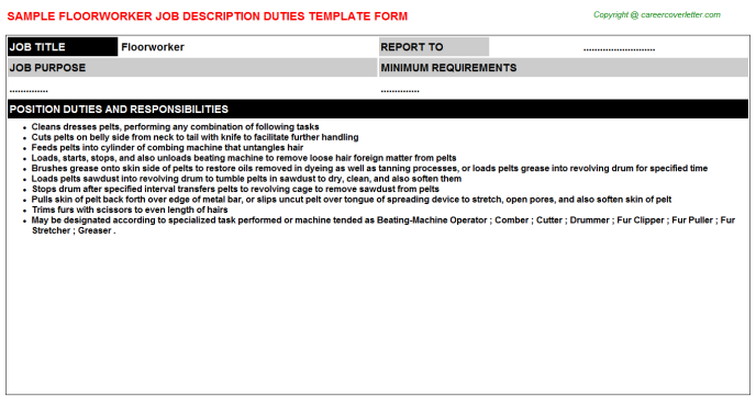 Floorworker Job Description Template