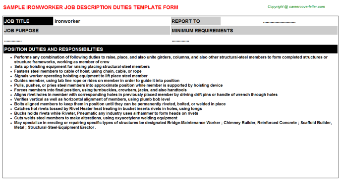 Ironworker Job Description Template