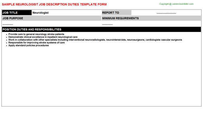 Neurologist Job Description Template