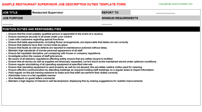 Restaurant Supervisor Job Description Template