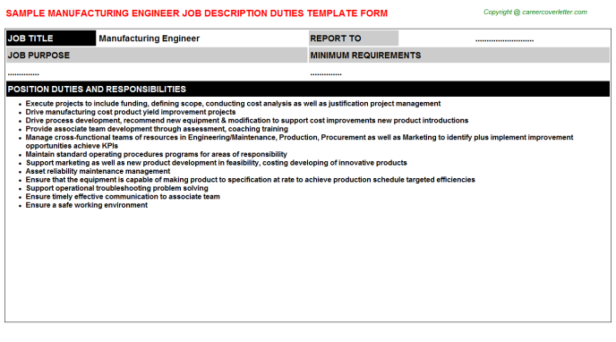 Manufacturing Engineer Job Description Template