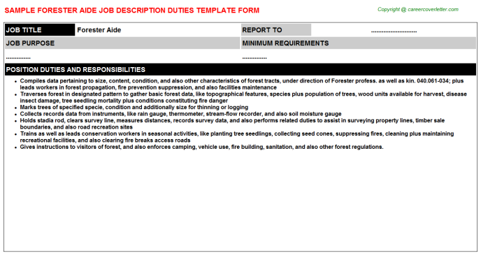 forester aide job description template