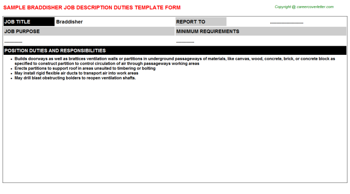 Braddisher Job Description Template