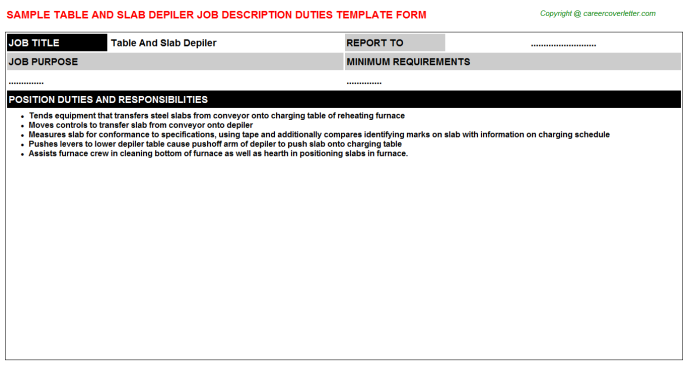 table and slab depiler job description template