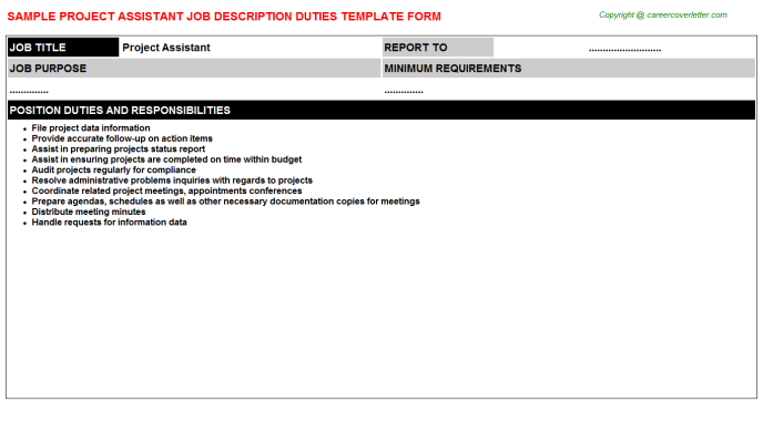 Project Assistant Job Description Template