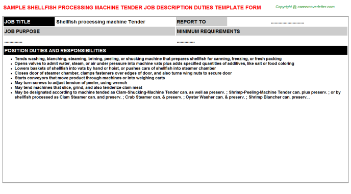 shellfish processing machine tender job description template