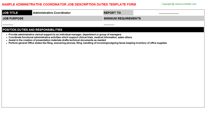 Administrative Coordinator Job Description Template