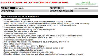 Bartender Job Description Duties Template