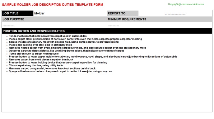 molder job description template