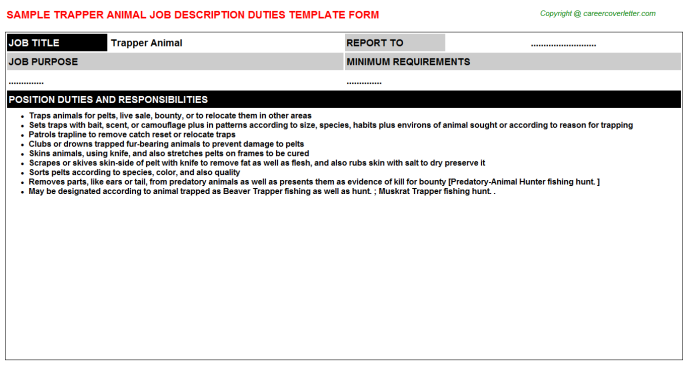 trapper animal job description template