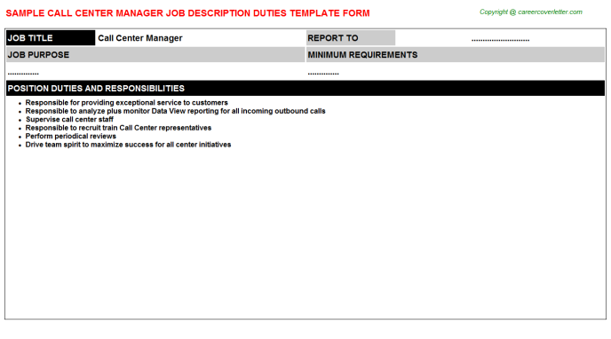 Call Center Manager Job Description Template