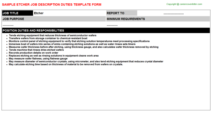 Etcher Job Description Template