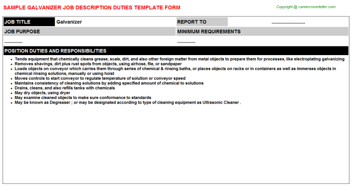Galvanizer Job Description Template