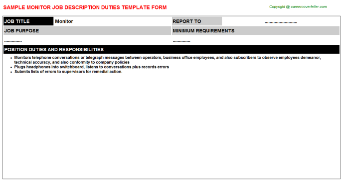Monitor Job Description Template