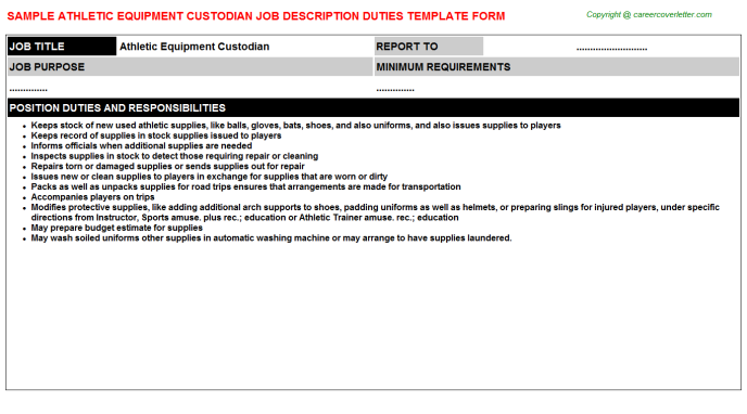 Athletic equipment custodian career job description (#22962)