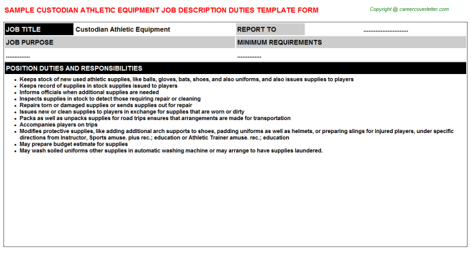 Custodian athletic equipment career job description (#22963)
