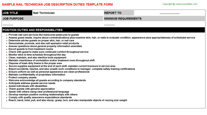 Nail Technician Job Description Template