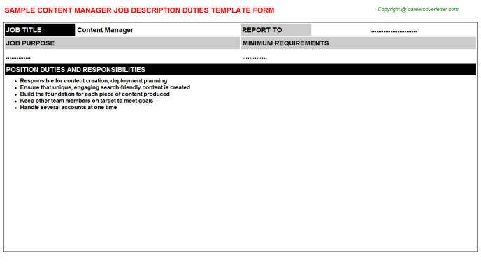 Content Manager Job Description Template
