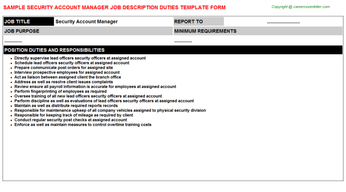 security account manager job description duties