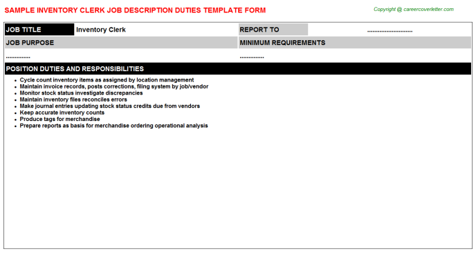 Inventory Clerk Job Description Template