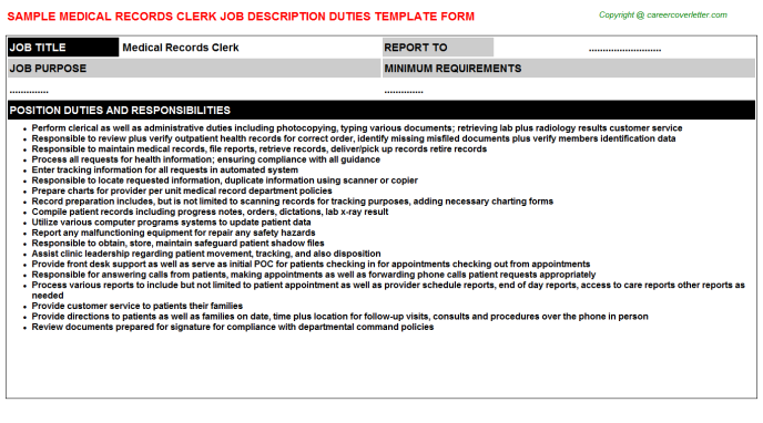 Medical Records Clerk Job Description Template