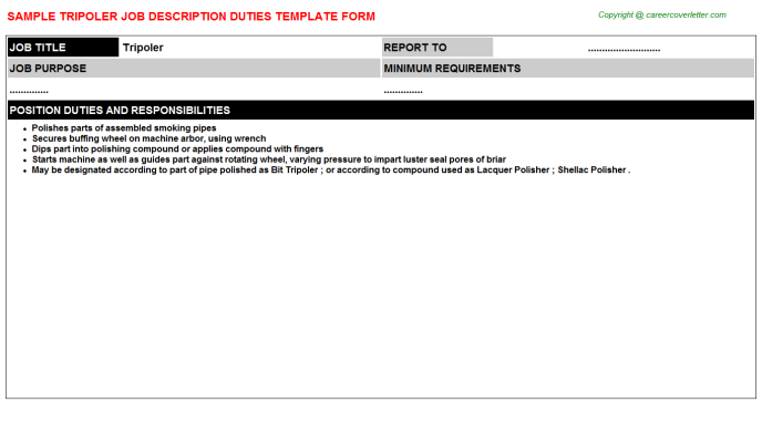 Tripoler Job Description Template