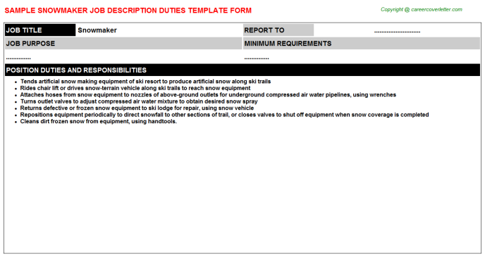 Snowmaker Job Description Template