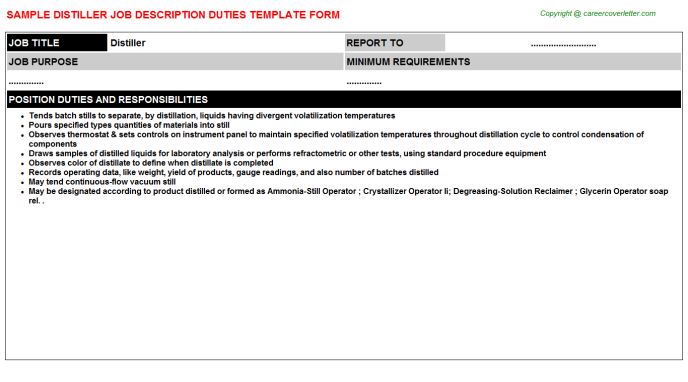Distiller Job Description Template