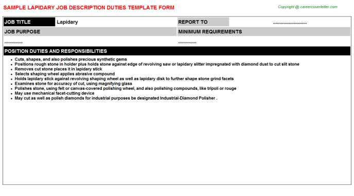 lapidary job description template