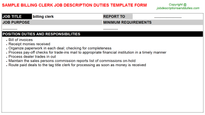 Billing Clerk Job Description Duties Template