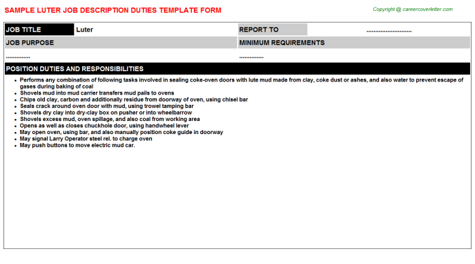 Luter Job Description Template