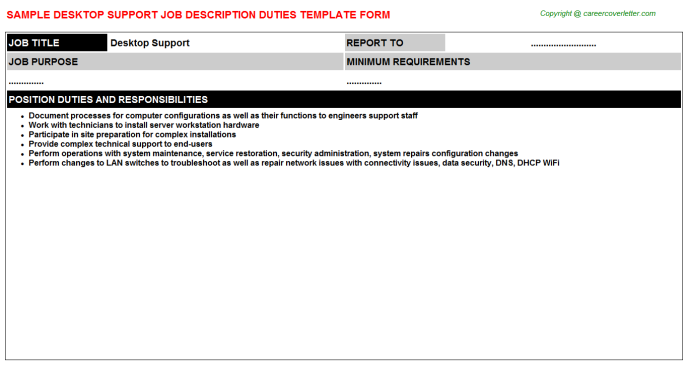Desktop Support Job Description Template