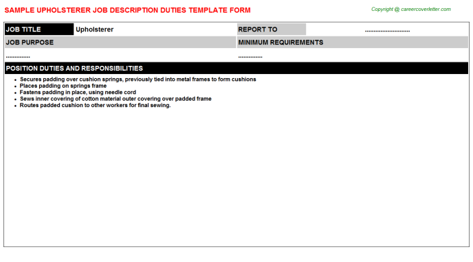 Upholsterer Job Description Template