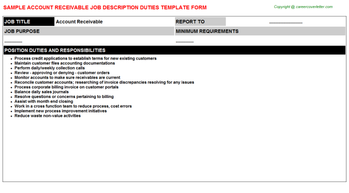 Account Receivable Job Description Duties Template