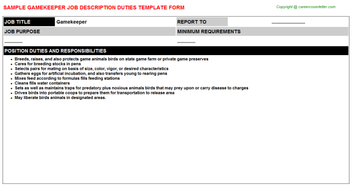 Gamekeeper Job Description Template