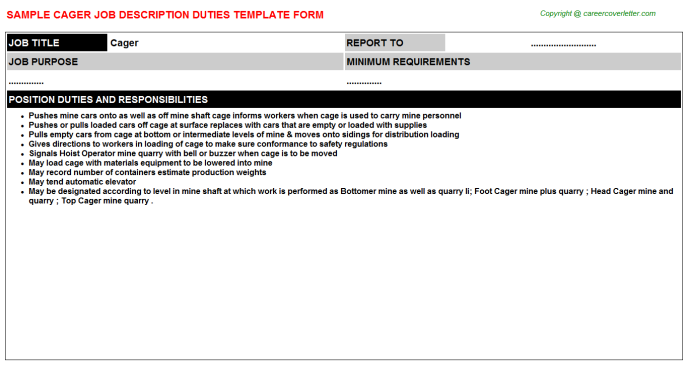 Cager Job Description Template
