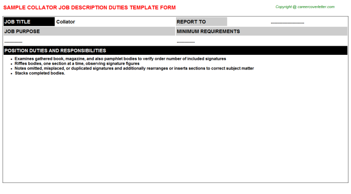 Collator Job Description Template