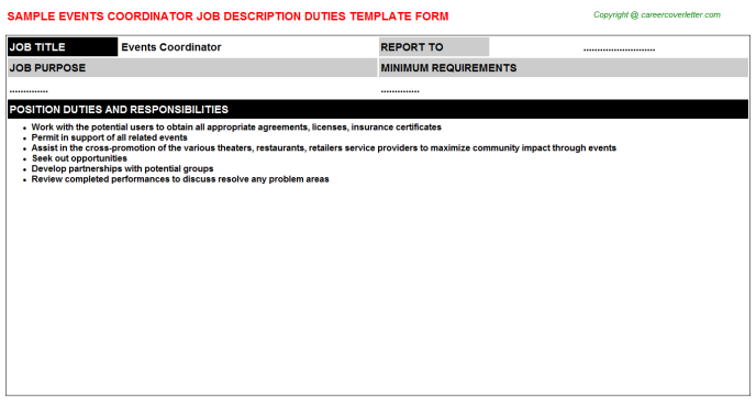 Events Coordinator Job Description Template
