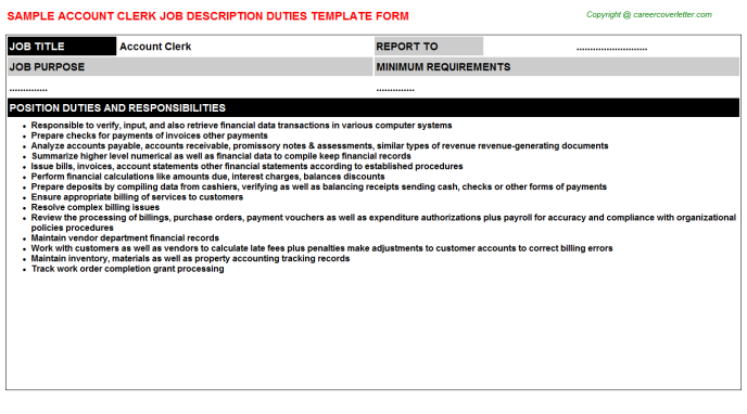 Account Clerk Job Description Duties Template