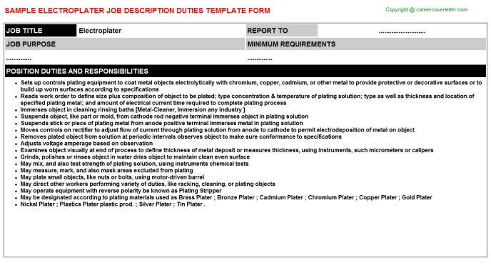 Electroplater Job Description Template