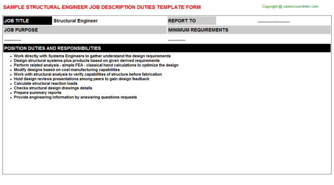 Structural Engineer Job Description Template