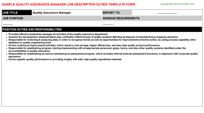 Quality Assurance Manager Job Description Template