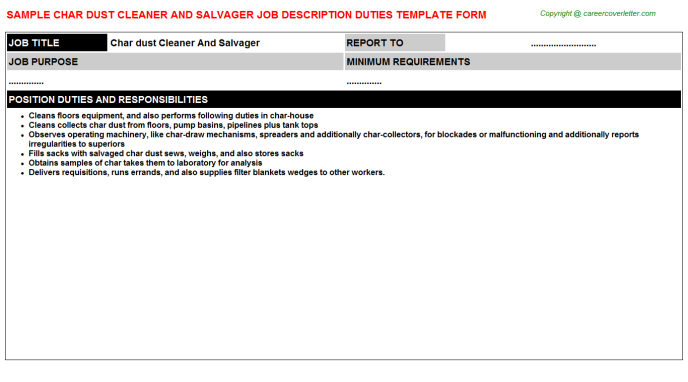 char dust cleaner and salvager job description template