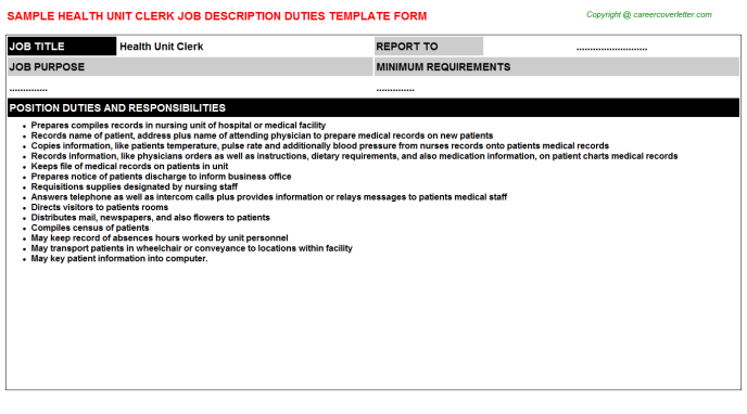 health unit clerk job description duties