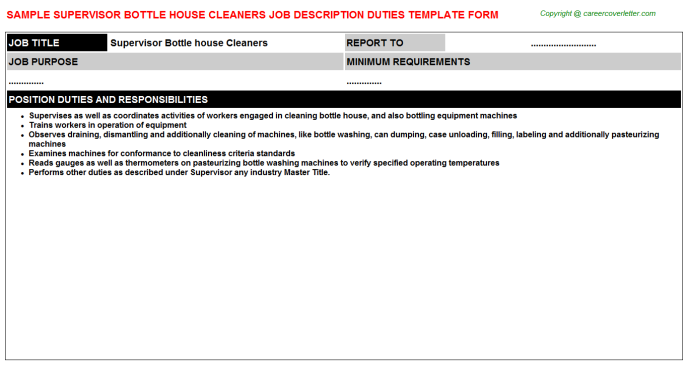 supervisor bottle house cleaners job description template