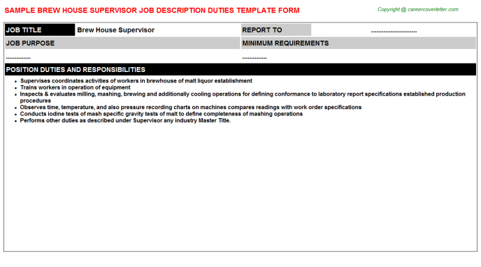 brew house supervisor job description template